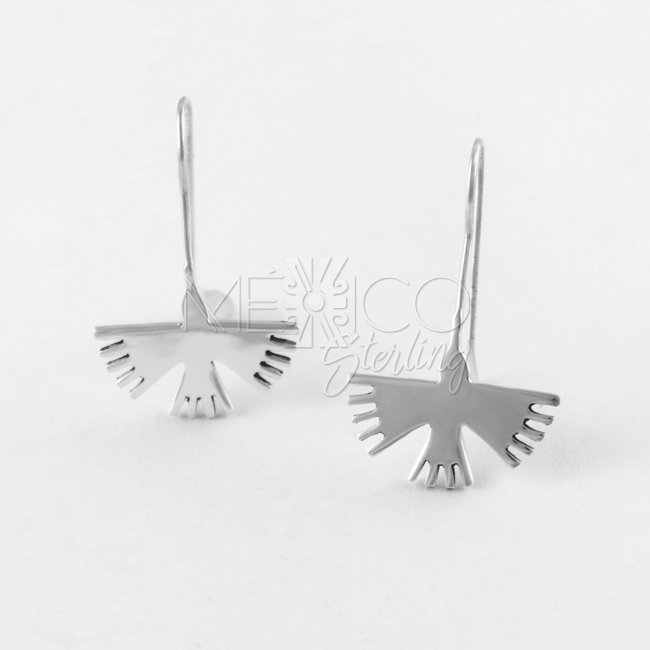 Nazca Dream Birds Small Silver Earrings