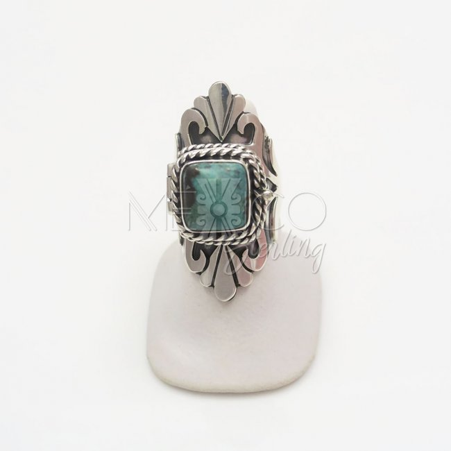 Silver-Turquoise Exotic Fan Poison Ring