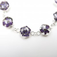 Silver-Flowers Bracelet Hexagons Shapes