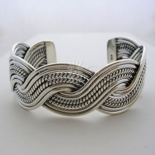 Classic Taxco Solid Silver Braided Cuff