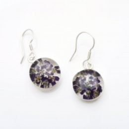 Still Nature and Silver Round Earrings