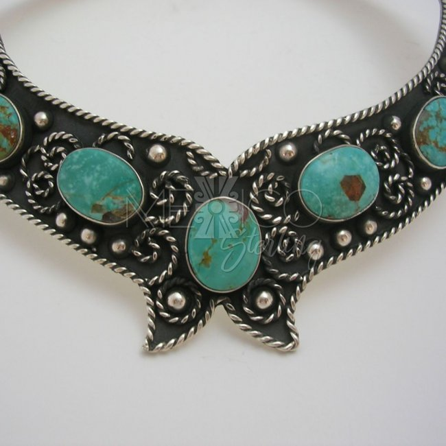 Classic Taxco Silver Necklace with Turquoise
