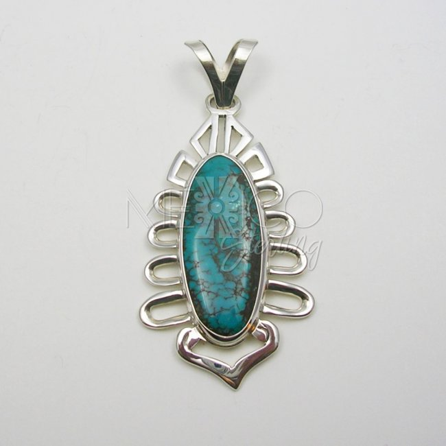 Amazing Taxco Silver and Turquoise Pendant