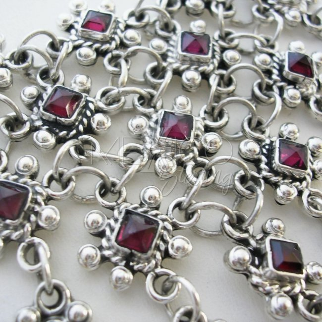 Taxco Sterling Silver and Stones Necklace
