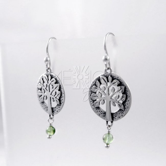 Designer Silver Celtic tree Peridot Earrings