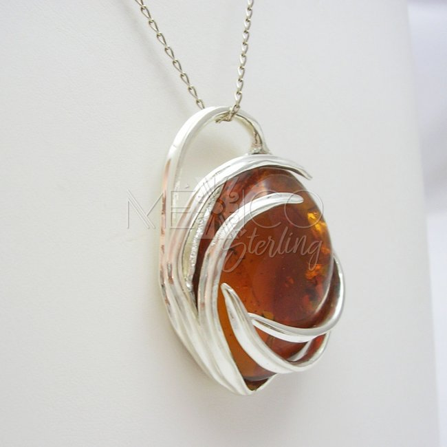 Silver Thunder Storm with Amber Pendant