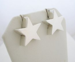 Feminine Taxco Sterling Silver Polished Star Earrings