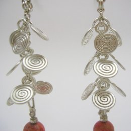 Silver and Coral Dangling Earrings