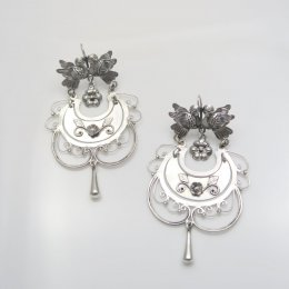 Mazahua Silver Flower Basket Earrings