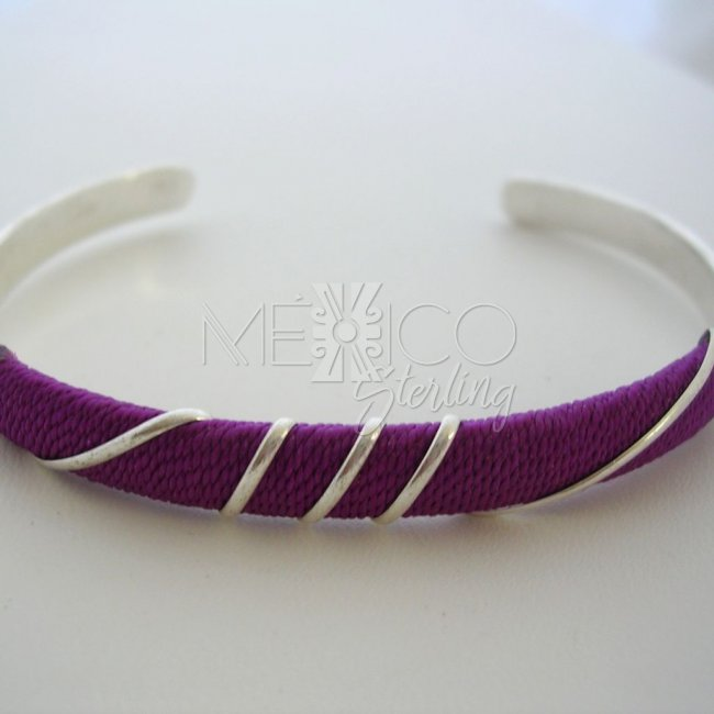 Taxco Silver Plated Bracelet Colorful Thread