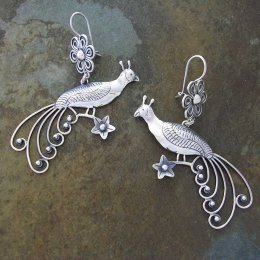 Magestic Peacock Taxco Silver Earrings