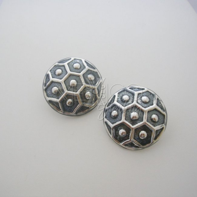 Silver Clip Earrings and Oxidized Surface