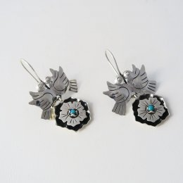 Singing Swallows Taxco Silver Earrings