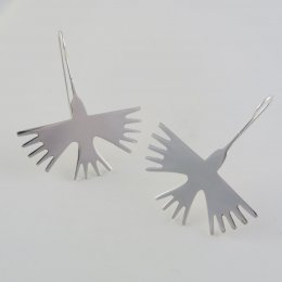 Nazca Dream Birds Large Silver Earrings