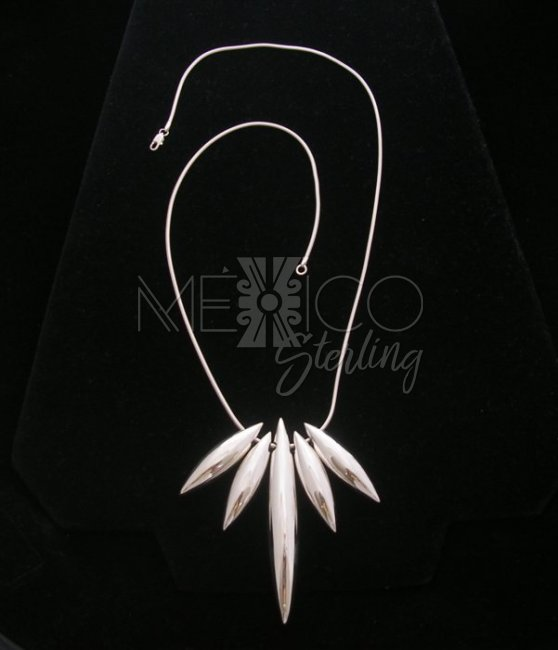 Contemporary Solid Taxco Silver Necklace