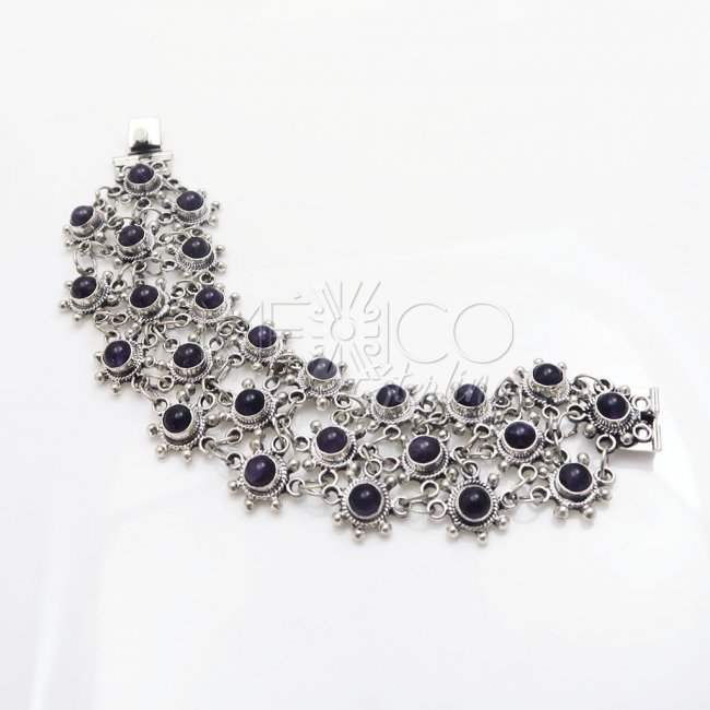 Silver Purple Rain Bracelet and Amethysts