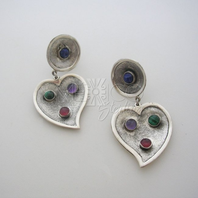 Taxco Silver Hearts Earrings Multi Stones