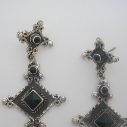 Old Taxco Silver Earrings Onyx Stones
