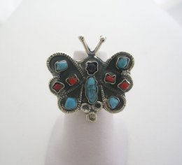 MATL-Matilde Style Stone Butterfly Silver Ring