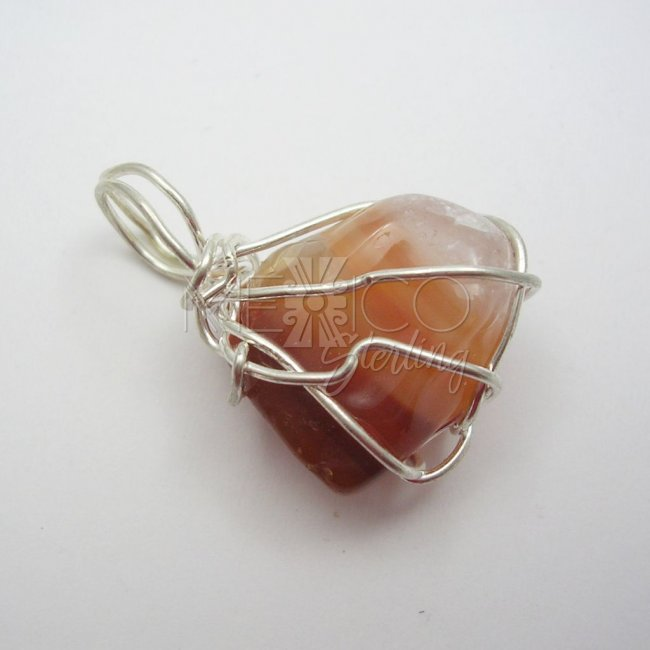 Silver Plated and Agate Gemstone Pendant
