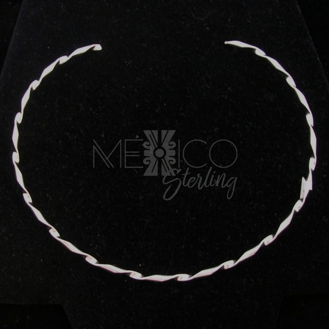 Mexican Twisted Silver Plated Choker