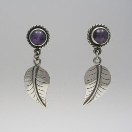 Delicate Silver Leaf Earrings with Amethyst