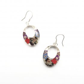 Still Nature and Silver Oval Drop Earrings