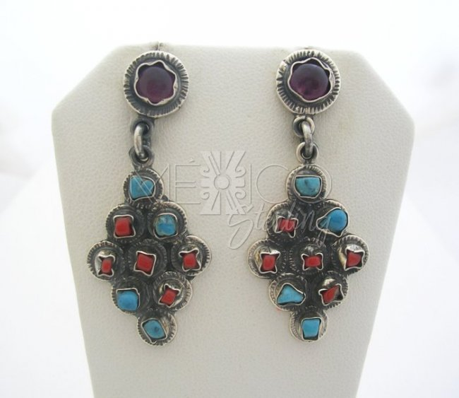 Vintage Style Silver Multi stone Drop Earrings