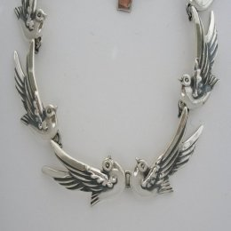 Margot de Taxco Molds Silver Doves Necklace