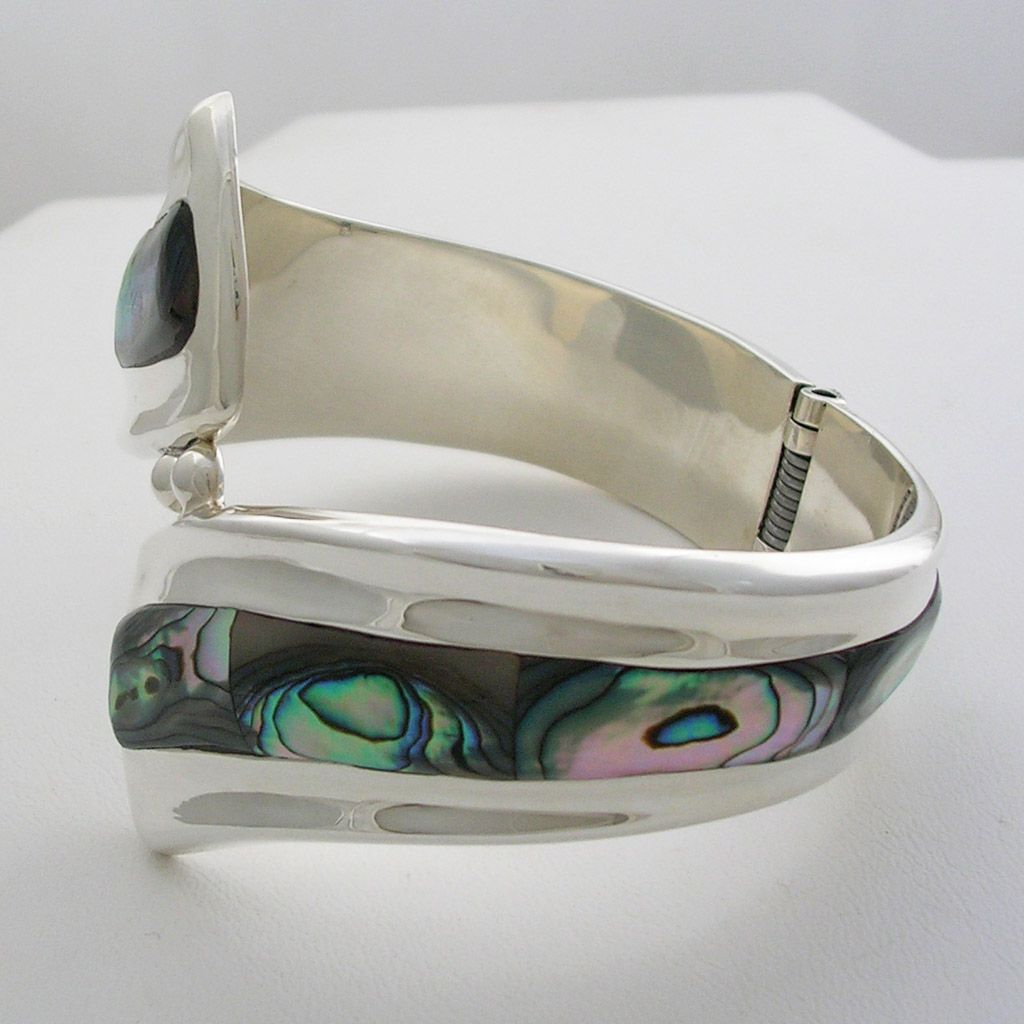 Hinge Sterling Silver and Abalone Cuff