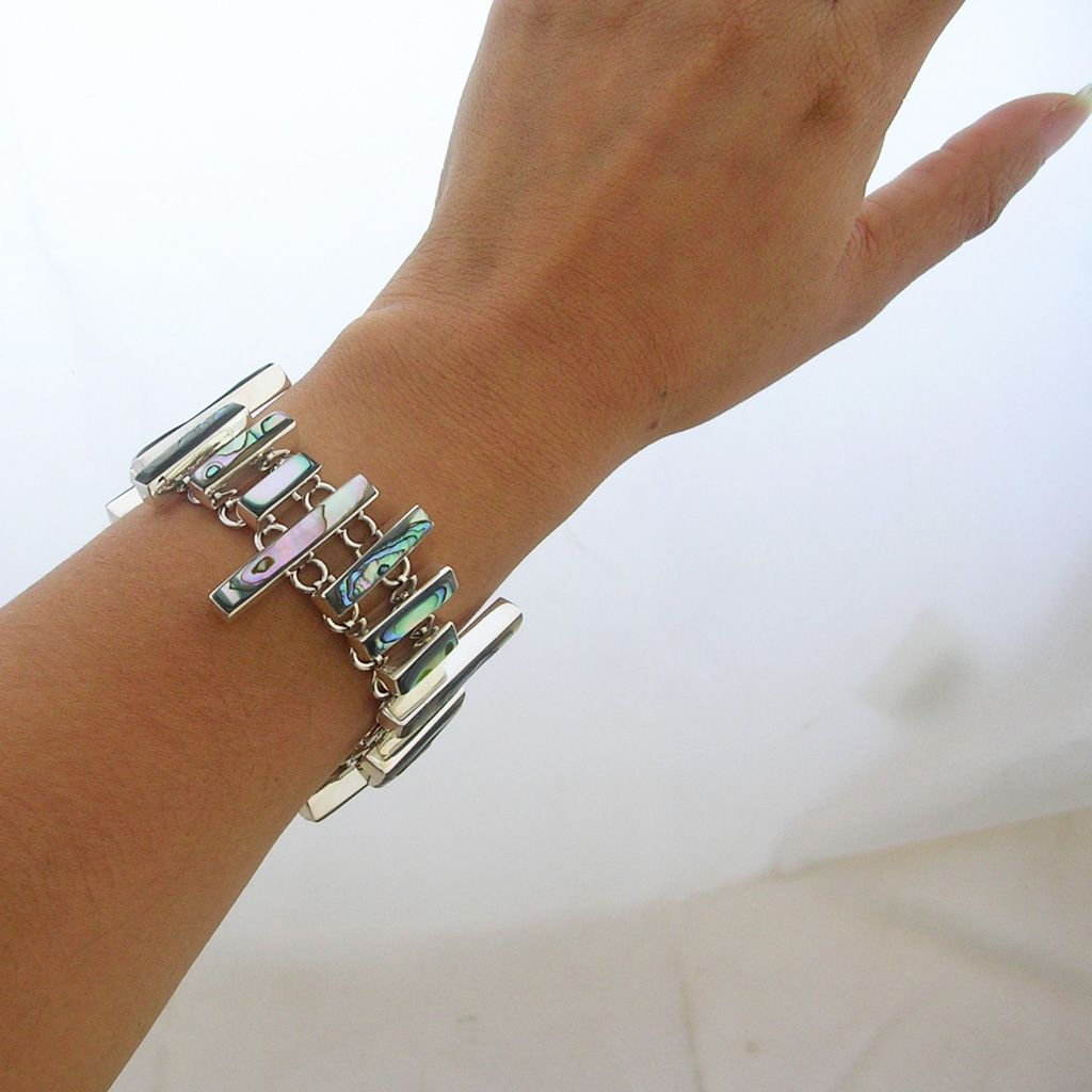 Modern Silver Bracelet with Abalone Shell