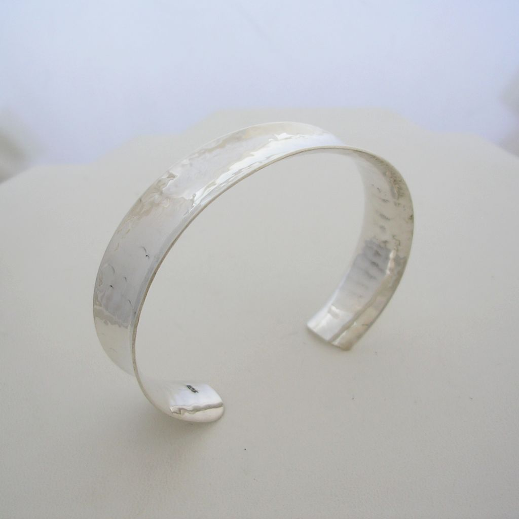 Concave Sterling Silver Hammered Cuff