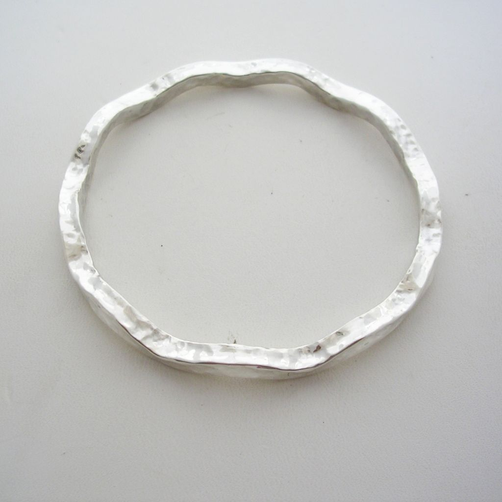 Mexican Sterling Silver Bangle, Hammered
