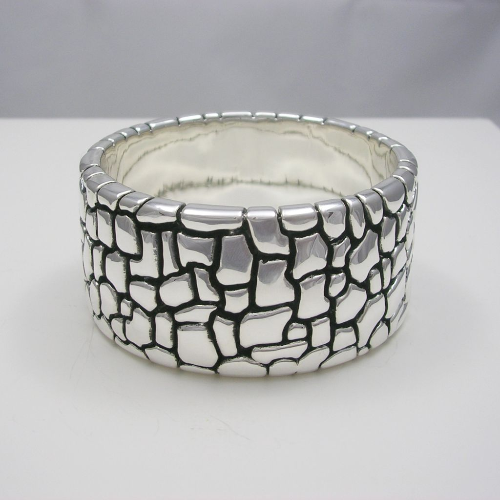 Large Taxco Silver Cuff with Texture
