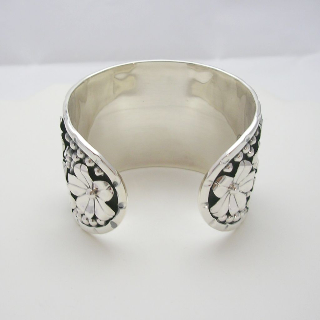 Feminine Large Sterling Silver Cuff