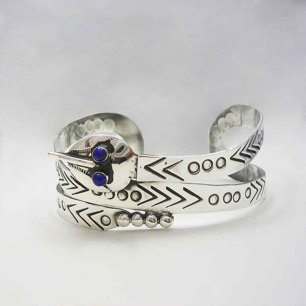 Ethnic Mexican Sterling Silver Snake Cuff