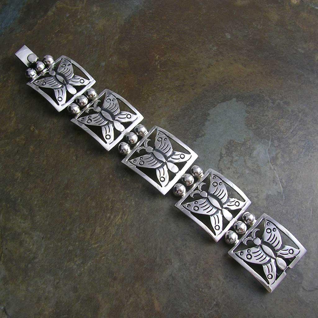 Festive Butterflies Taxco Silver Bracelet