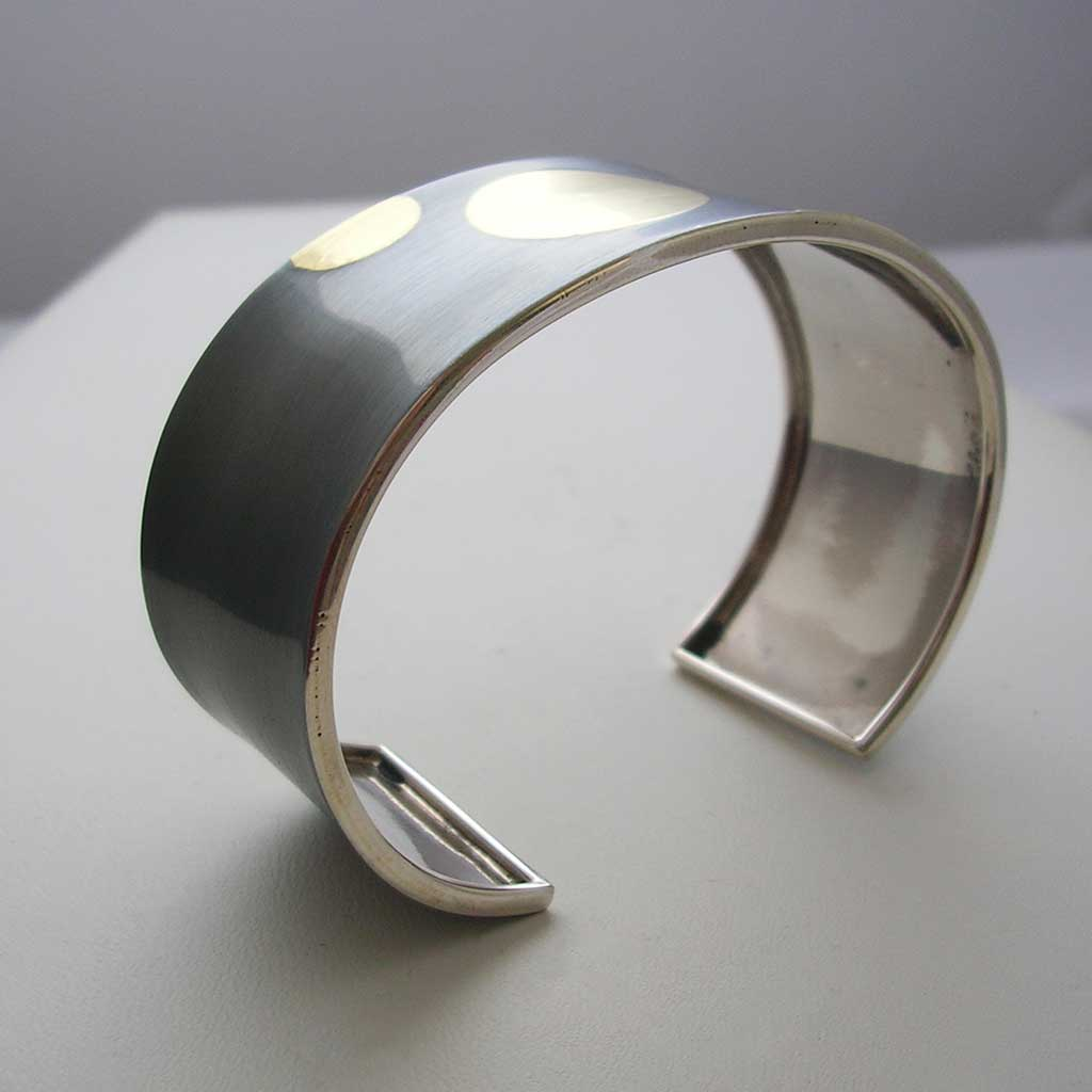 Dark Beauty Taxco Silver, Gold Cuff