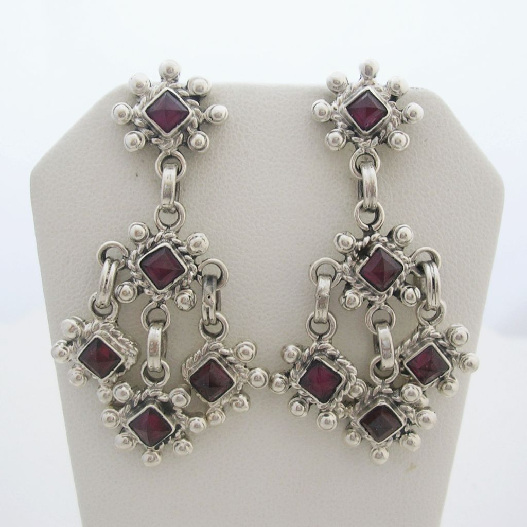 Silver and Gemstones Long Earrings