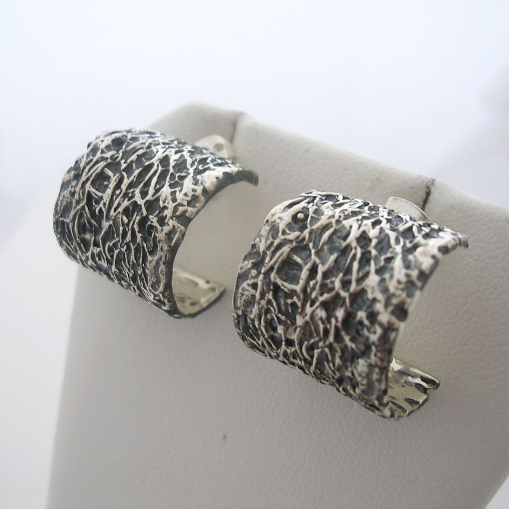 Textured Mexican Silver Hoop Earrings
