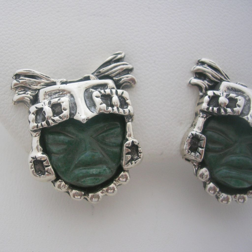 Jade and 925 Silver Earrings with Clip On