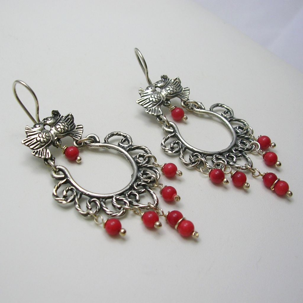 Classic Silver Earrings with Coral Beads