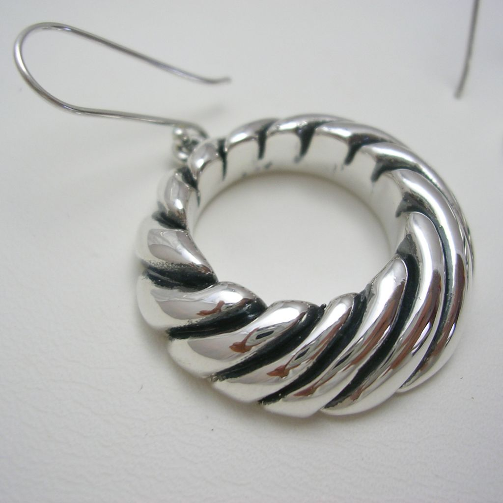 Contemporary Mexican Silver Hoops Earrings