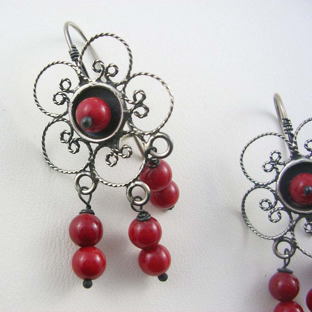 Delicate Silver Filigree Flower Earrings