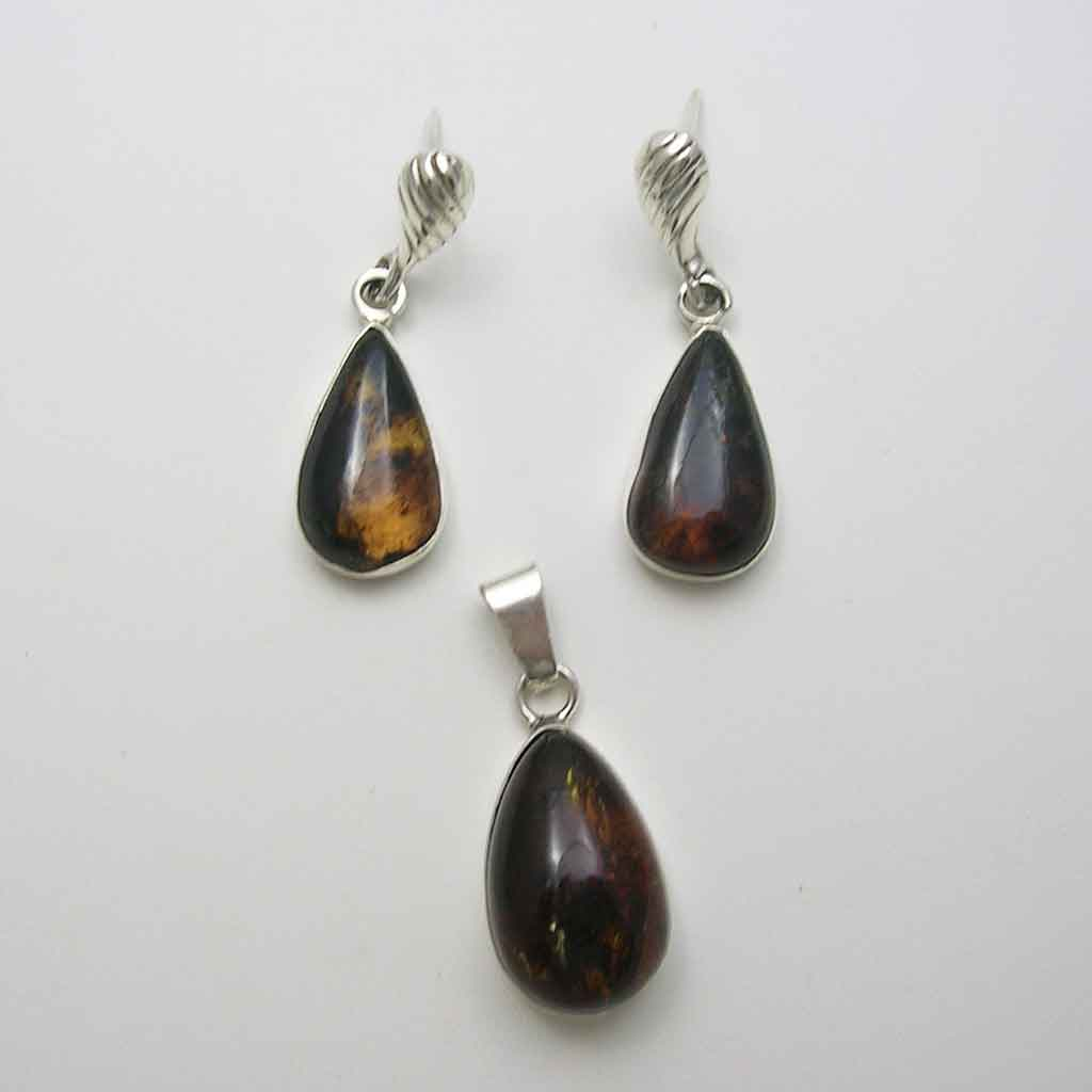 Taxco Silver and Amber Earrings