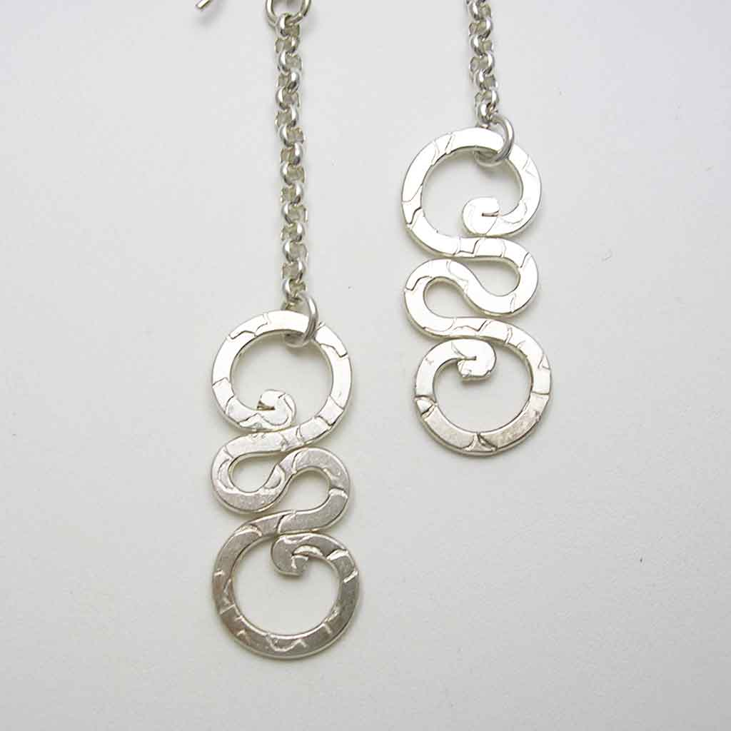 Delicate Swirls Taxco Silver Earrings
