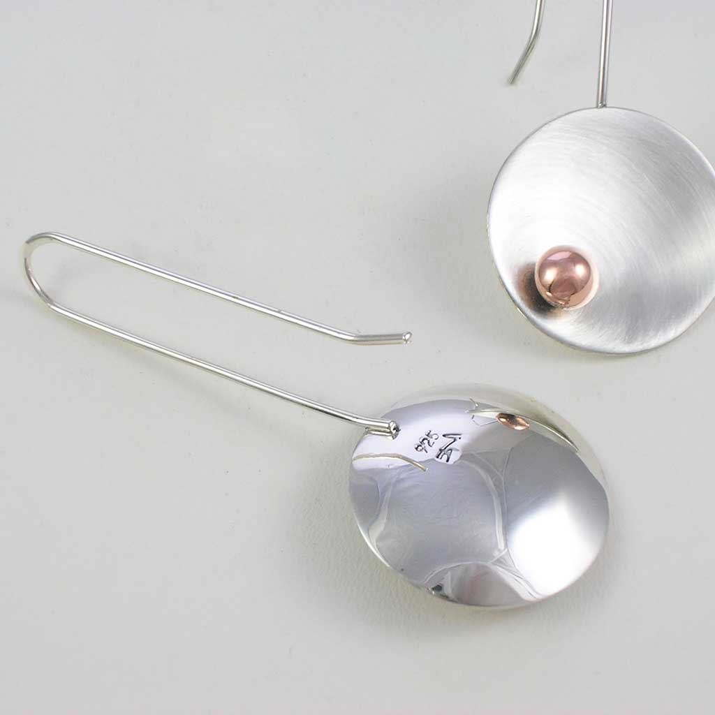 Bright Disks Taxco Silver Long Earrings