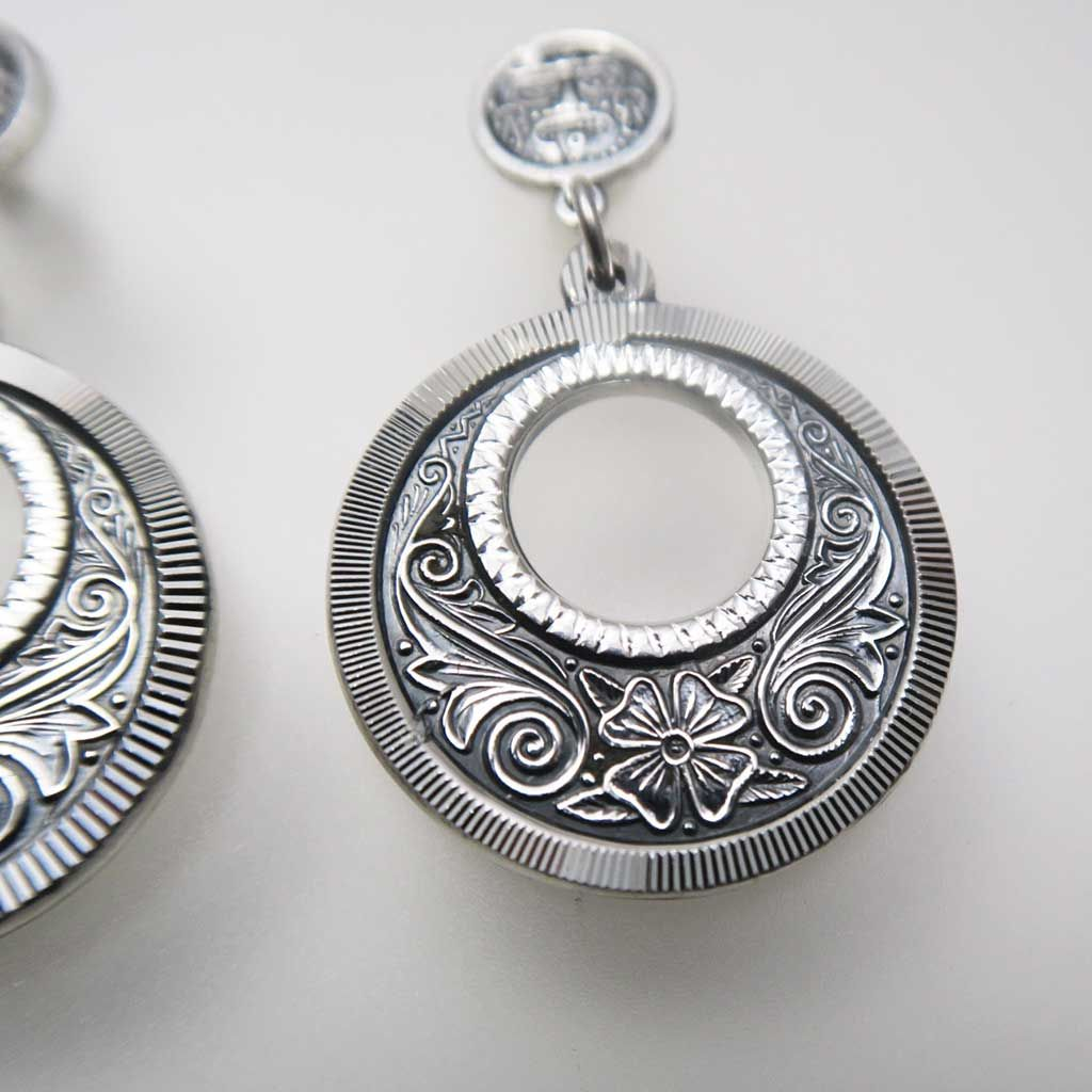 Mexican Silver Beauties Hoop Earrings