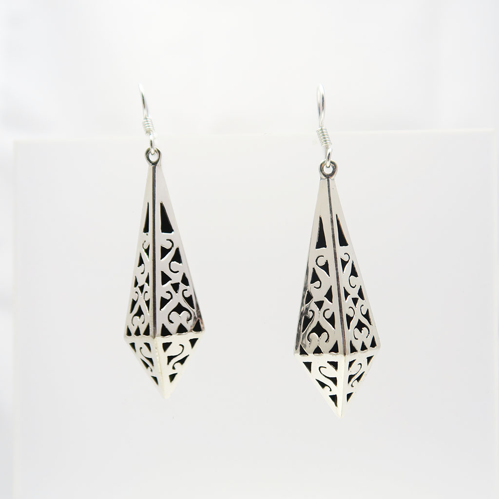 Taxco Silver Artistic Carved Pyramid Earrings