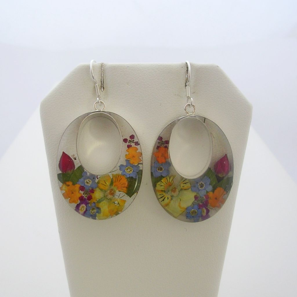 Taxco Silver and Natural Flowers Earrings
